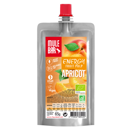 Gel energético de pulpa de fruta, Albaricoque 65g - Mulebar